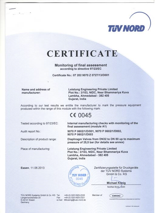 Certifications – Leistung Engineering Pvt. Ltd.